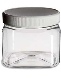 Clear Food Grade PET Plastic Grip Storage 5-Jar Assorted Variety Set w/Caps
