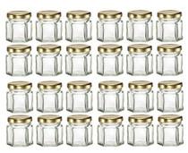 24 pcs 1.5 oz Hexagon Glass Jars with Gold Lids - 45 ml