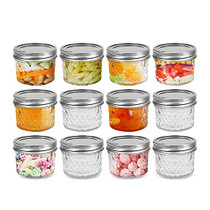 4 oz 12 PACK Regular Mouth Mini Mason Jars with Lids and Bands, Quilted Crystal Jars Ideal for Food Storage