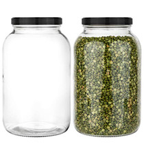 2 Pack - 1 Gallon Mason Jar - Glass Jar Wide Mouth with Plastic Lid - Container for Storing Dry Foods, Spices, Pasta, Legumes and Pet Food - Airtight Kitchen Storage (Black Cap)