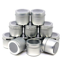 12 Magnetic Spice Tins & 102 Clear Spice Labels, 12 Storage Spice Containers, Window Top w/Sift-Pour. Rack Magnetic On Refrigerators, Fridges and Cabinet Doors