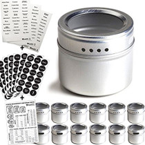 12 Magnetic Spice Tins and 2 Types of Spice Labels. 12 Storage Spice Containers, Magnetic Spice Jars with Window Top and Sift-Pour. 240 Preprinted Spice Stickers. Spice Rack On Fridge