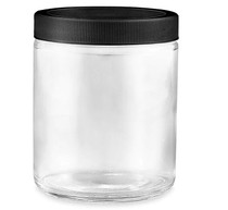 Straight-Sided Glass Jars - 8 oz, Black Plastic Ribbed Lid - 24/case