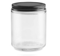 Straight-Sided Glass Jars - 8 oz, Black Metal Lid - 24/case