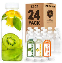 12 oz Plastic Juice Bottles with Caps Lids - Smoothie Bottles, Drink Juice Containers with Lids, Reusable Juice Bottles for Juicing, 24 Pack