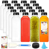 16oz 20pcs Empty PET Plastic Juice Bottles Reusable Clear Disposable Containers with Black Tamper Evident Caps Lids for Juice, Milk and Other Beverages