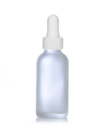 4 Oz Frosted Glass Bottle w/ White Regular Glass Dropper