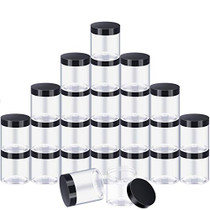 24 Pieces Clear Plastic Round Storage Jars Wide-Mouth Plastic Containers Jars with Lids for Storage Liquid and Solid Products (Black Lid, 8 oz)