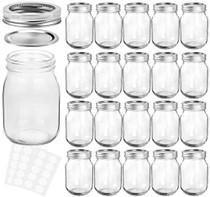 Mason Jars 12 oz With Regular Lids and Bands, Ideal for Jam, Honey, Wedding Favors, Shower Favors, Baby Foods, DIY Magnetic Spice Jars, 20 PACK, 30 Whiteboard Labels Included