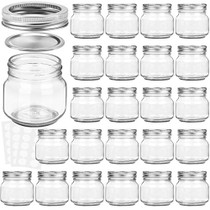 Mason Jars 8 oz With Regular Silver Lids and Bands, Ideal for Jam, Honey, Wedding Favors, Shower Favors, Baby Foods, DIY Magnetic Spice Jars, 24 PACK, 30 Whiteboard Labels Included