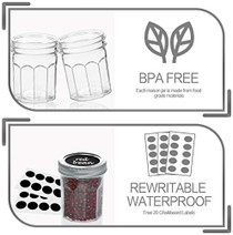 Mason Jars Canning Jars, 6 OZ Pudding Jelly Jars With Regular Lids and Bands,  Spice Jars, 16 PACK,Extra 16 Lids