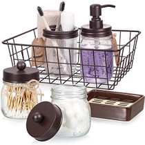 Mason Jar Bathroom Accessories Set 6 Pcs - Mason Jar Soap Dispenser & 2 Apothecary Jars & Toothbrush Holder & Ceramic Drain Soap Dish & Wire Basket