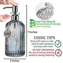 18 Oz Vertical Stripes Kitchen Soap Dispenser with 304 Rust Proof Stainless Steel Pump, Refillable Liquid Soap Dispenser for Bathroom, Kitchen, Hand Soap, Dish Soap (Clear Grey)