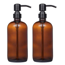 2 Pack Thick Amber Glass Pint Jar Soap Dispenser with Matte Black Stainless Steel Pump, 16ounce Boston Round Bottles Dispenser with Rustproof Pump for Essential Oil, Lotion Soap-1607576072