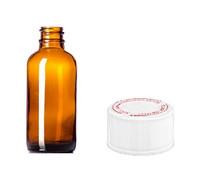4 oz AMBER Boston Round Glass Bottle w/ Child Resistant Cap