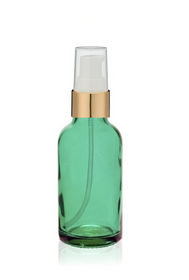 2 Oz Caribbean Green Glass Bottle w/ White-Matte Gold Treatment Pump