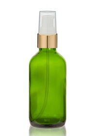 2 Oz Green Glass Bottle w/ White-Matte Gold Treatment Pump