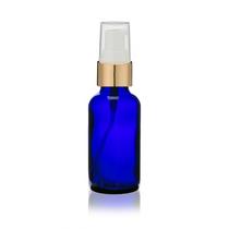 2 Oz Cobalt Blue Bottle w/ White-Matte Gold Treatment Pump