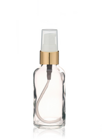 1 Oz Clear Glass Bottle w/ White-Matte Gold Treatment Pump