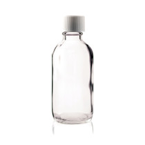 4 oz CLEAR Boston Round Glass Bottle w/ Child Resistant Cap