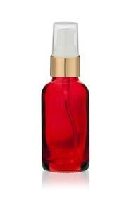 1 Oz Red Glass Bottle w/ White-Matte Gold Treatment Pump
