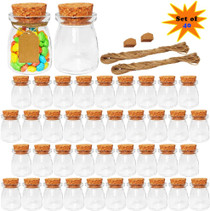 Glass Jars with Lids, 3.4 oz Favor Jars, Small Glass Bottles with Cork Lids, Extra Strings and Labels for DIY, Set of 40 (B08FBW5H9Y)