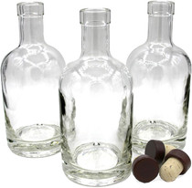 Nordic Bottles - 3 Pack - 375ml (12oz.) Bottles with Dark Wood Bar Top Cork Caps