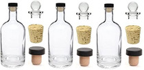 3 pcs 12 oz Heavy Base Glass Liquor Bottles with T-Top Synthetic Cork with Bonus Glass Bottle Stopper and Regular Bottle Cork Made in the USA (3, 12 oz (375 ml))