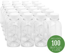 8-OZ Square Plastic Juice Bottles with lids  - 100-CT