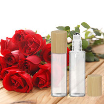 12Pcs 15ml Glass Roll On Bottle with Bamboo Lid for Essential Oils, Creatiee Eco-friendly Refillable Clear Perfume Sample Bottles with Stainless Steel Roller Ball - Portable & Practical