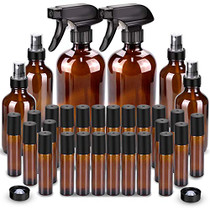 Glass Spray Bottle, Wedama Roller Bottles, Essential Oil Roller Bottles Kits (2 x 16oz,4 x 4oz,24 x 10ml) with Accessories for Aromatherapy Facial Hydration Watering Flowers Hair Care -Amber