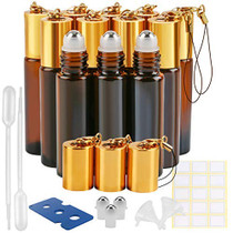 Glass Roller Bottle, 12 Pack 10 ml Amber Essential Oil Roller Bottles with Stainless Steel Roller Balls and Hanging Lids(2 Dropper,2 Funnel,15 Labels,3 Extra Roller Balls, 1 Bottle Opener)