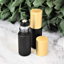 Holistic Oils 5ml Black Roller Bottles for Essential Oils                  Leakproof Rollers                  Thick Black Glass with Brush Gold Lid, Stainless Steel Roller Ball Insert                  Pack of 12, Sold