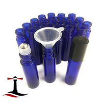 24 Glass Cobalt Blue Essential Oils Roller Bottles Refillable 10 ml Roll On Perfume/Aromatherapy/Organic Beauty Bottles with Stainless Steel Roller Balls & Cap (3) 3 ml Droppers (1) Funnel (1) Opener
