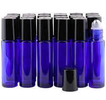 Glass Roller Bottles, 24 Packs 10 ml Cobalt Blue Essential Oil Roll On Ball Bottles with Big Stainless Steel Roller Balls +(24 Labels, 3 Droppers, 1 Funnel, 1 Extra Roller Balls, 1 Bottle Opener)