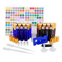TMIE 10ml Glass Essential Oil Roller Bottles, 12 Pack Amber + 12 Pack Blue, Leak-Proof, (4 Extra Roller Balls, 4 Perfume Spray Bottles, 192 Labels, 2 Funnels, 2 Droppers, 1 Opener, 1 Brush), Roll On