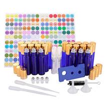 TMIE 10ml Glass Essential Oil Roller Bottles, 24-pack, Blue, Leak-Proof, (4 Extra Roller Balls, 4 Perfume Spray Bottles, 192 Labels, 2 Funnels, 2 Droppers, 1 Opener, 1 Brush), Roll On