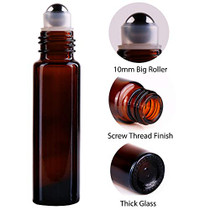 24 Pack (12 Amber+12 Cobalt Blue) Roller Bottles,10ml Thick Glass Roll on Bottle with Big Steel Ball for Essential Oil Perfume + Droppers(3) +Opener(1)+Funnel(1) +Extra Roller Ball(1) +Labels(24)