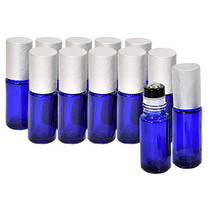 Blue Roller Bottles for Essential Oils (12 PACK) - Roll-On Leakproof Empty Roller Bottles with Stainless Steel Inserts - Oils and Aromatherapy (5ml)