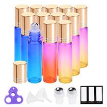 Essential Oil Roller Bottles 10ml by (12 Pack Rainbow Glass, Golden Cap, 24 Labels, 2 Extra Roller Balls, Opener, 2 Funnels) Roller Balls for Essential Oils, Roll on Bottles