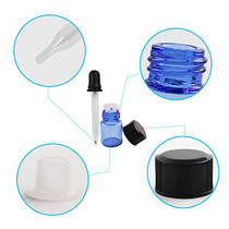 Essential Oils Sample Bottles, Teenitor 36 Pcs 2 ml (5/8 Dram) Cobalt Blue Oil Bottles For Essential oils , Amber Glass Vials With 2 Free Glass Transfer Eye droppers