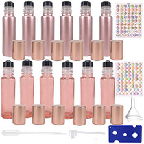 12pack 10ml Roller Bottles for Oils,Perfume Bottles,Roll on Bottle for Essential oils,Rollers Bottle Empty Glass essential oil Rollon Bottles Bulk(6rose gold+6clear pink) With Labels Opener Pipette