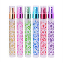 Perfume Atomizer - Travel Frosted Print Glass 10ml Small Empty Aromatic Fragrance Fine Mist Spray Perfume Bottles Atomizers set of 6