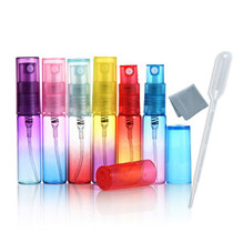 12PCS Mini 5ml Colorful Glass Refillable Atomizer Perfume Empty Bottle Fine Mist Atomizer Pump Spray for Travel with Glass Clean Cloth 3Ml Pipette Dropper