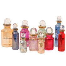"CraftsOfEgypt Genie Blown Glass Miniature Perfume Bottles for Perfumes & Essential Oils, Set of 10 Decorative Vials, Each 2"" High (5cm), Assorted Colors"
