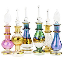 "Egyptian Perfume Bottles Wholesale Set Of 12 Size 2"" (5 cm) mouth-blown with handmade golden Egyptian decoration for Perfumes & Essential Oils"
