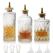 Suprobarware Bitters Bottle for Cocktails - Glass Bitters Bottle with Zinc Alloy Dash Antique Design Professional Grade Home Ready Restaurantware - BTSET0003 (3 pcs)