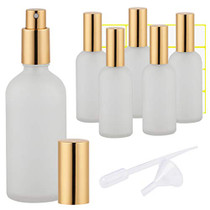 Glass Spray Bottle 3.4oz, Empty Frosted Perfume Atomizer, Fine Mist Spray,Gold Sprayer (6 PACK)
