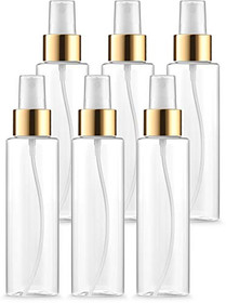 BAR5F Fine Misting Spray Bottles with Gold Trim, Dust Caps, 4 oz | Plastic, Clear, Refillable, BPA Free Atomizers | Fine Mist Spraying for DIY Beauty Products, Facial Sprays, Aromatherapy | Pack of 6