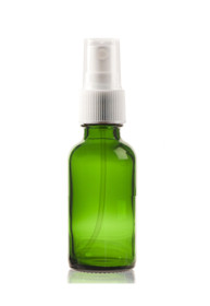 1 oz Green Boston Round Glass Bottle  w/ White Fine Mist Sprayer